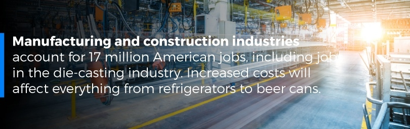 Manufacturing and construction industires account for 17 million American jobs